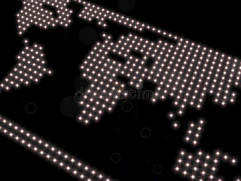Världskarta som komponeras av strålkastare på en svart bakgrund royaltyfri illustrationer