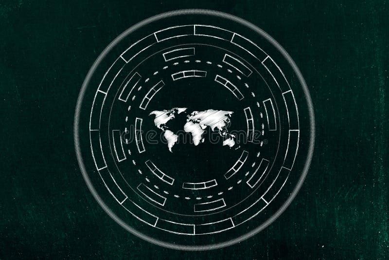 Världskarta som omges av den abstrakta teknologicyberspacemekanismen arkivfoto