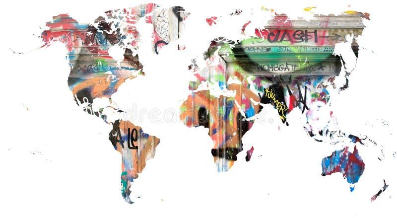 Världskarta som ut klipps i mång- kulöra grafitti royaltyfria foton