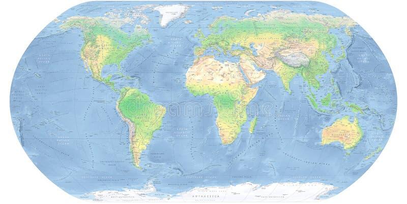 Världskarta specificerad fysisk översikt royaltyfri fotografi