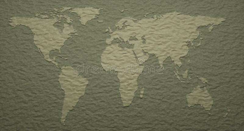 Världskarta utföra i relief detaljer stock illustrationer