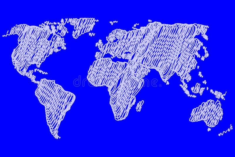 Världskarta - vektorn klottrar stock illustrationer