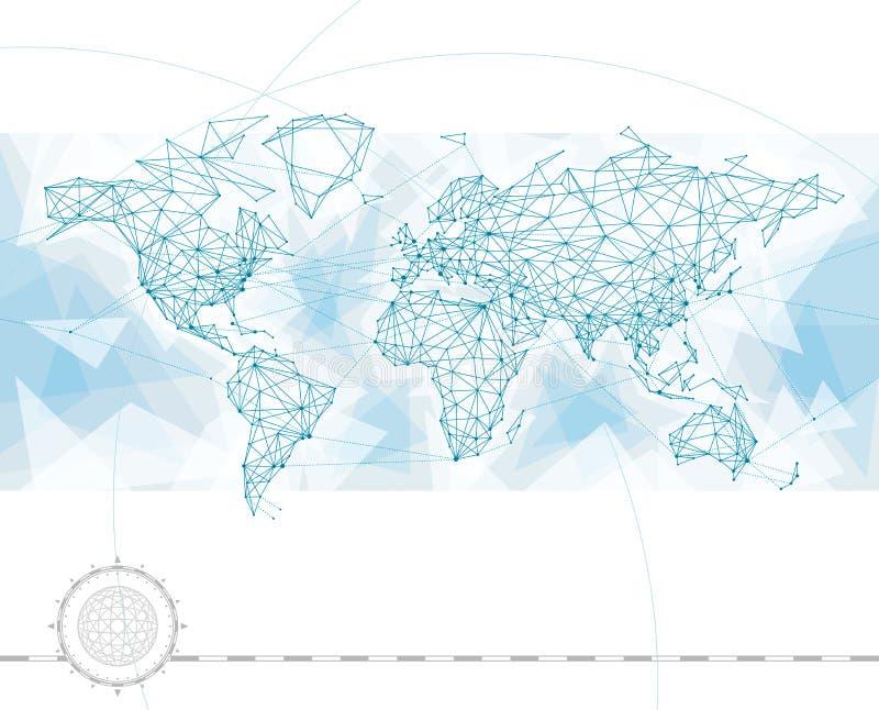 Världskartaanslutning stock illustrationer