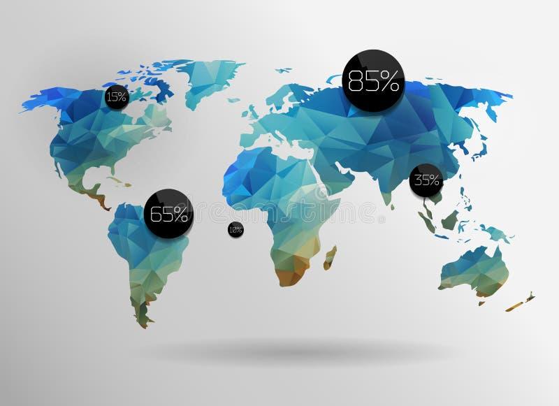 Världskartabakgrund royaltyfri illustrationer