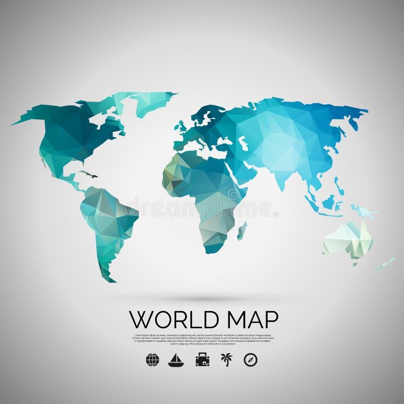 Världskartabakgrund i polygonal stil stock illustrationer