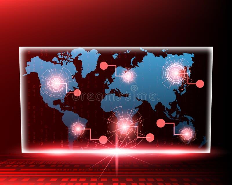 VärldskartaCyberlinje attack vid röd begreppsbakgrund för en hacker V royaltyfri illustrationer