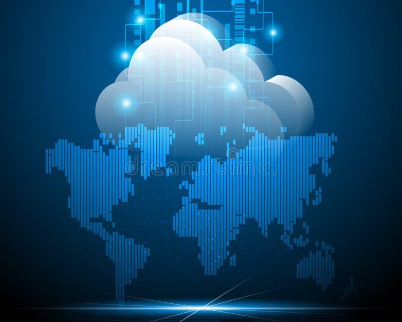 Världskartadatornätet och den beräknande affären för moln verkställer vektor illustrationer