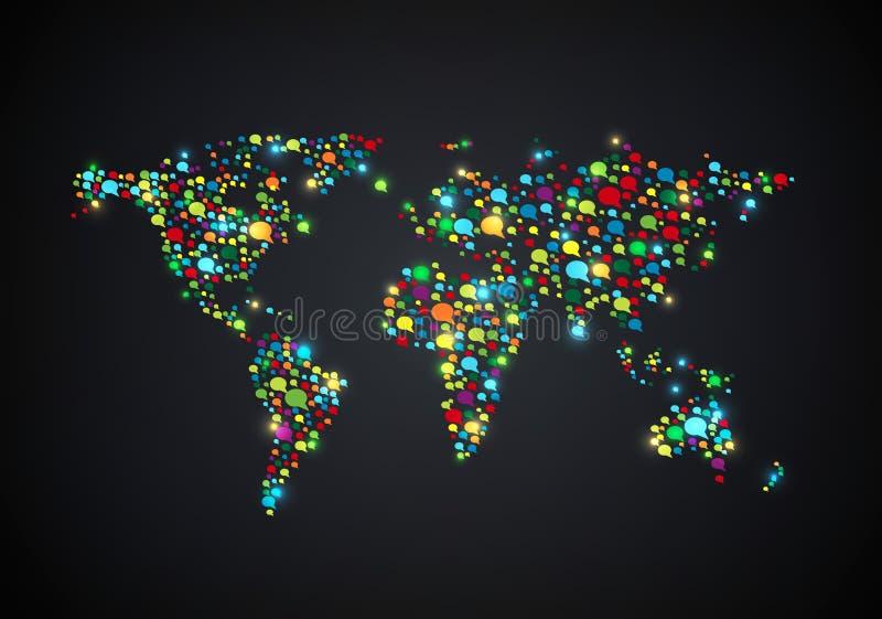 Världskartaform med färgade anförande för många bubblor stock illustrationer