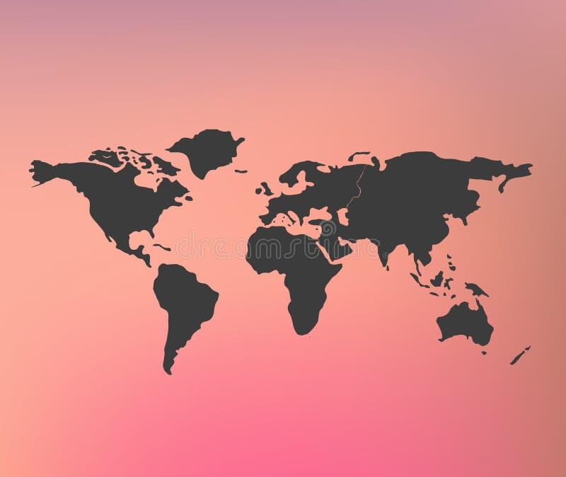 Världskartaillustration eps 10 på suddigt rosa rött bakgrundsingrepp med baner som är passande för infographic royaltyfri illustrationer