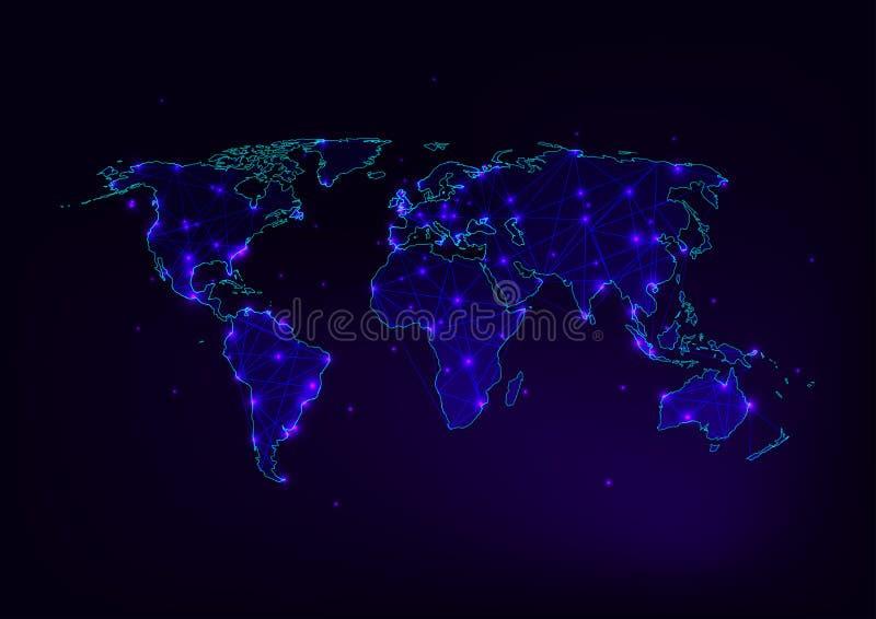 V?rldskartaingrepp med kontinent?versikten som g?ras av linjer, prickar, stj?rnor, trianglar p? m?rkt purpurf?rgat, bl?tt vektor illustrationer