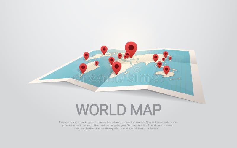 Världskartajord med benloppbegrepp stock illustrationer