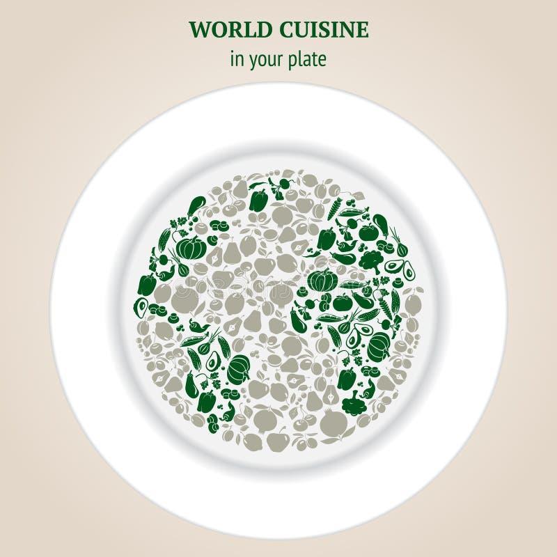 Världskartakonturer av grönsaker royaltyfri illustrationer
