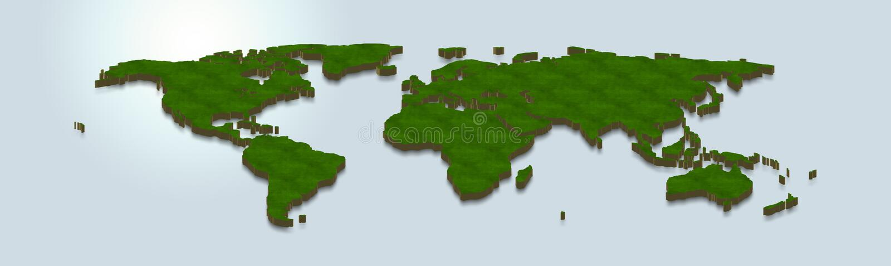 Världskartan är grön på en blå bakgrund 3d vektor illustrationer