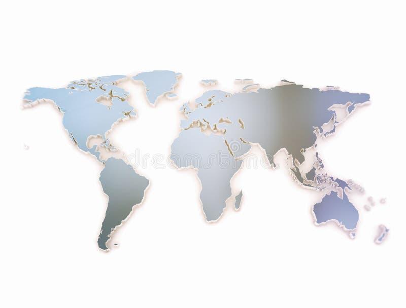Världskartan 3d utföra i relief mörkt - blå metallisk textur royaltyfri illustrationer
