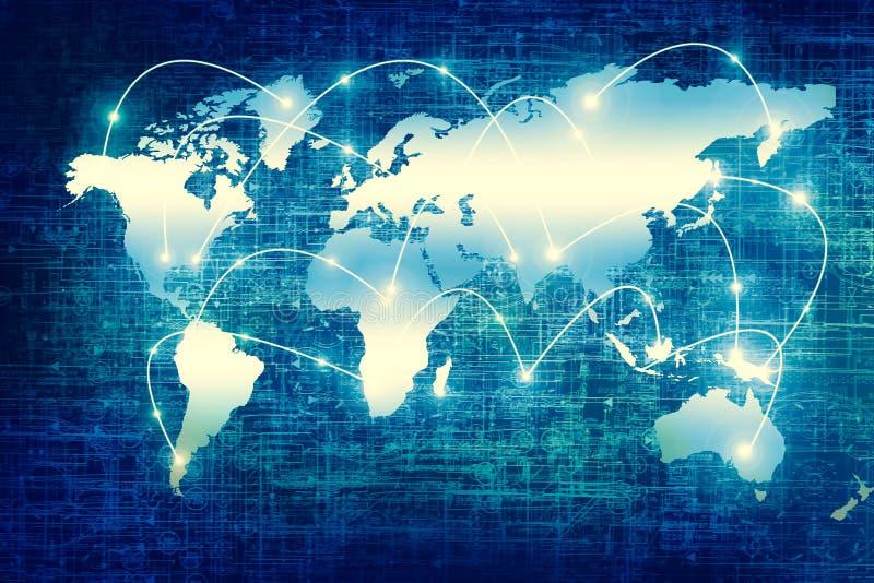 Världskartan på en teknologisk bakgrund som glöder fodrar symboler av internet, radion, televisionen, mobilen och satelliten arkivbild
