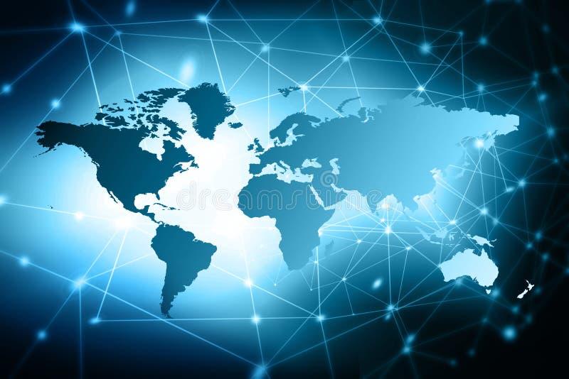 Världskartan på en teknologisk bakgrund som glöder fodrar symboler av internet, radion, televisionen, mobilen och satelliten arkivfoto