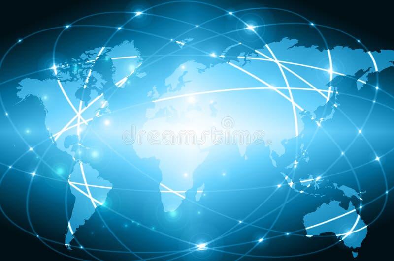Världskartan på en teknologisk bakgrund som glöder fodrar symboler av internet, radion, televisionen, mobilen och satelliten arkivfoton