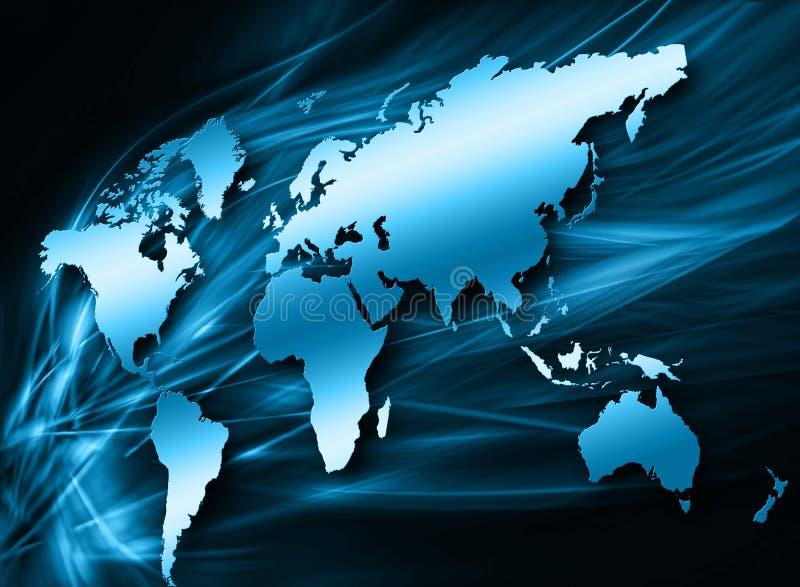 Världskartan på en teknologisk bakgrund som glöder fodrar symboler av internet, radion, televisionen, mobilen och satelliten royaltyfri illustrationer