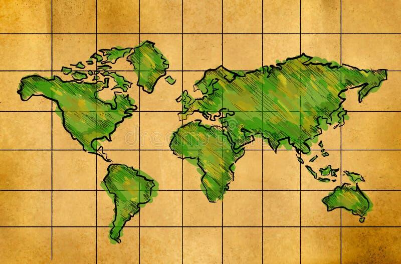 Världskartan skissar vattenfärgen på gammalt papper vektor illustrationer