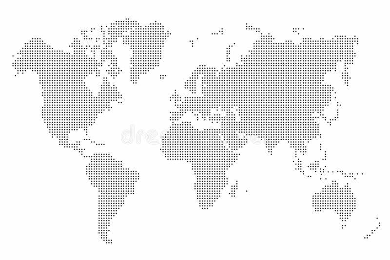 Världskartaprick abstrakt bakgrundsöversiktsvärld royaltyfri illustrationer