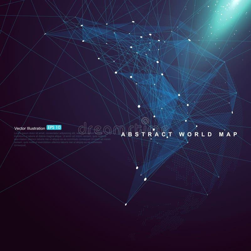 Världskartapunkt, linje, yttersidasammansättning som föreställer det globalt vektor illustrationer