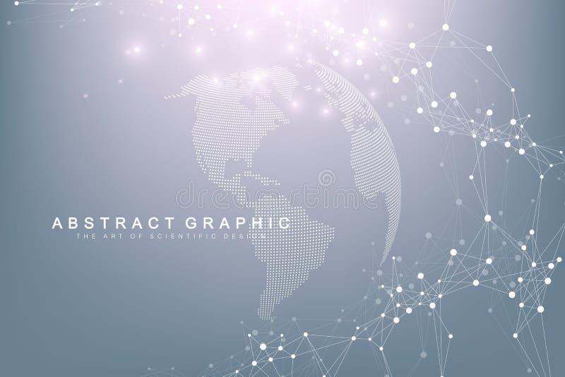 Världskartapunkt med globalt teknologinätverkandebegrepp Visualization för Digitala data Fodrar plexusen Stor databakgrund royaltyfri illustrationer
