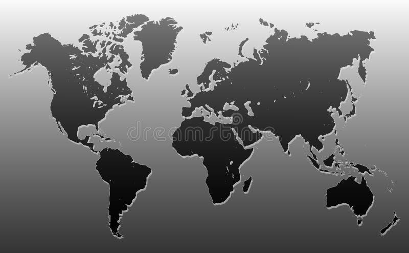 Världskartasvart och grå färger royaltyfri illustrationer