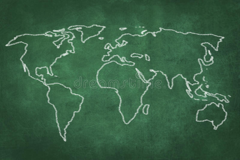 Världskartateckning på den gröna svart tavlan vektor illustrationer