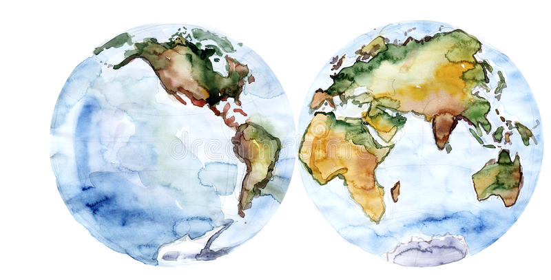 Världskartateckningsvattenfärg stock illustrationer