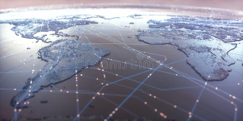 Världskartauppkopplingsmöjlighet royaltyfria bilder