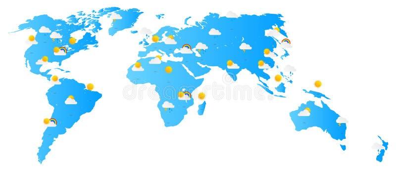 Världskartaväderprognos vektor illustrationer
