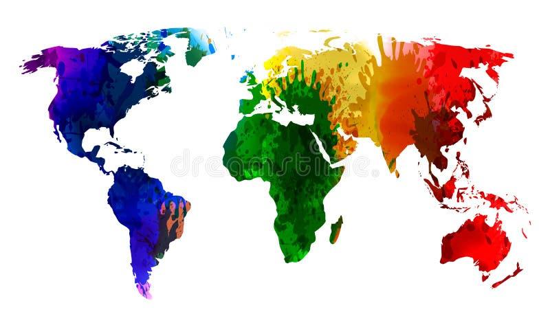 Världskartavattenfärg, färgrika färgstänkkontinenter av planeten - vektor royaltyfri illustrationer
