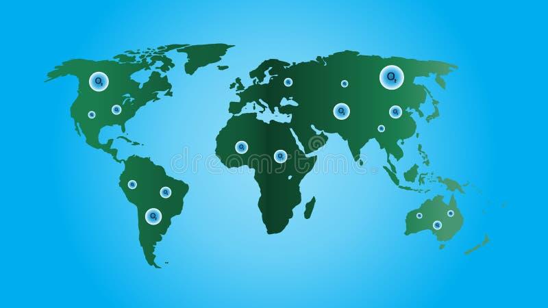 Världskartavektor, ekologibegrepp, grön värld, lägenhetjordöversikt för websiten, årsrapport, Infographics, världskartaillustrati royaltyfri illustrationer