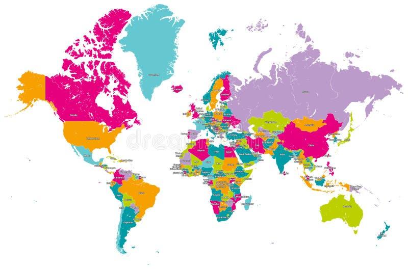 Världskartavektor med länder royaltyfri illustrationer