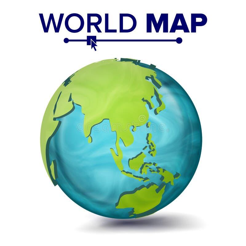 Världskartavektor sfär för planet 3d Jord med kontinenter Asien Australien, Oceanien, Afrika isolerad knapphandillustration skjut stock illustrationer