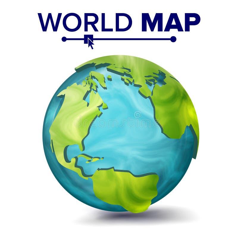 Världskartavektor sfär för planet 3d Jord med kontinenter Nordamerika Sydamerika, Afrika, Europa isolerat vektor illustrationer