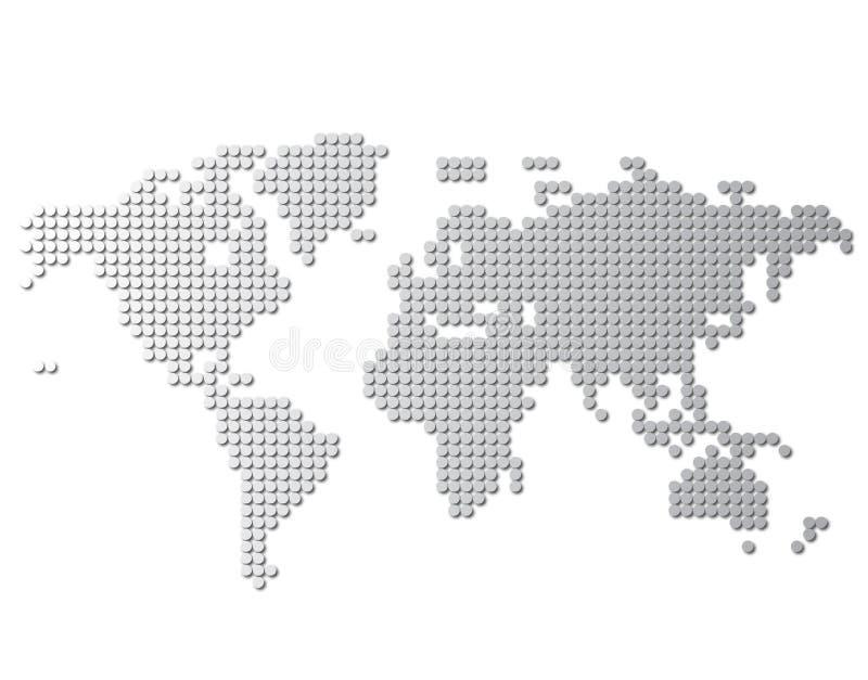 Världskartavektor som isoleras på vit bakgrund Plan jord, grå översiktsmall för webbplatsmodellen, årsrapport, inphographics G vektor illustrationer