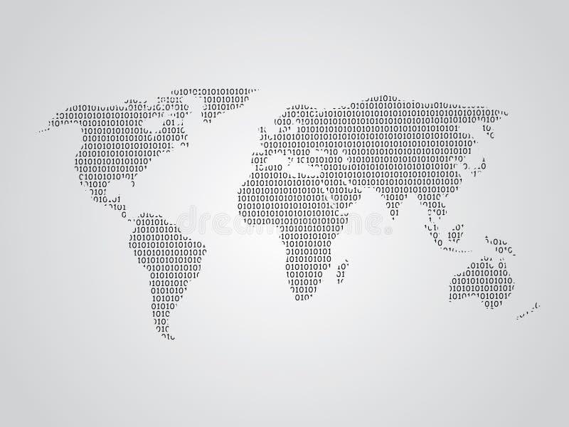 Världskartavektorillustration genom att använda binära nummer eller tecken för att föreställa det digitala jordklotet stock illustrationer