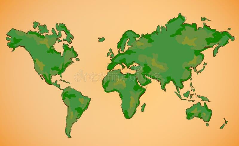 Världskartavektormålning royaltyfri illustrationer
