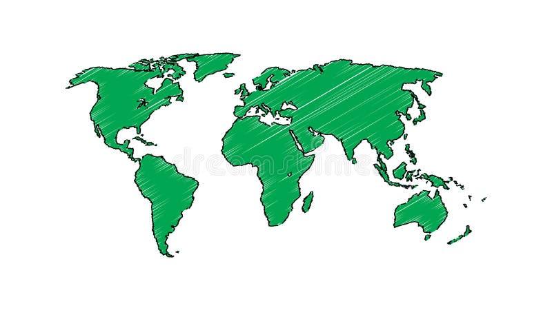 Världskartavektorn, det InfoGraphic begreppet, lägenhetjordöversikten för websiten, årsrapporten, vektor för den världskartaIllus vektor illustrationer