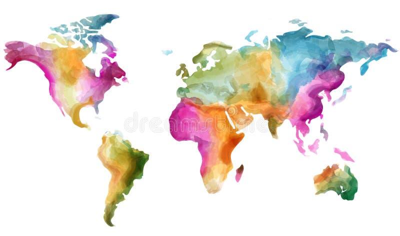 Världskartavektorvattenfärg Färgrika illustrationgrungeeffekter stock illustrationer