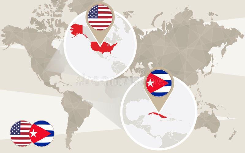 Världskartazoom på USA, Kuba vektor illustrationer