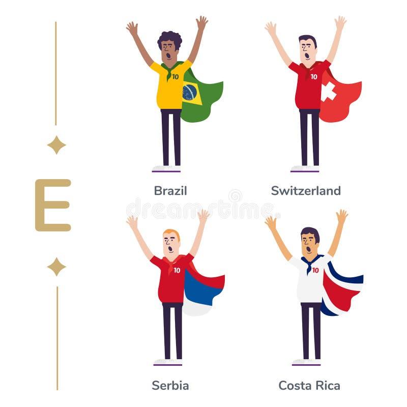 Världskonkurrens Landslag för service för fotbollfans Fotbollsfan med flaggan Brasilien Schweiz, Serbien, Costa Rica stock illustrationer