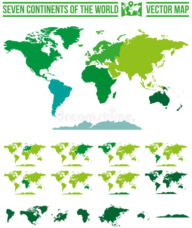 Världskontinentöversikt royaltyfri illustrationer