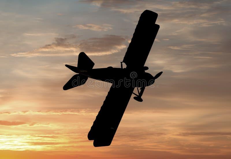 Världskrig ett eraflygplan stock illustrationer