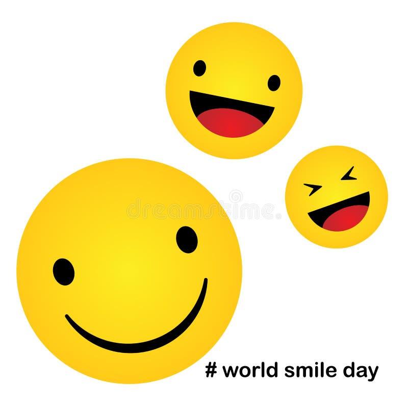 Världsleendedag Leendesymbolsvektor lyckasymbol, leendeframsidauttryck, vektorillustration royaltyfri illustrationer