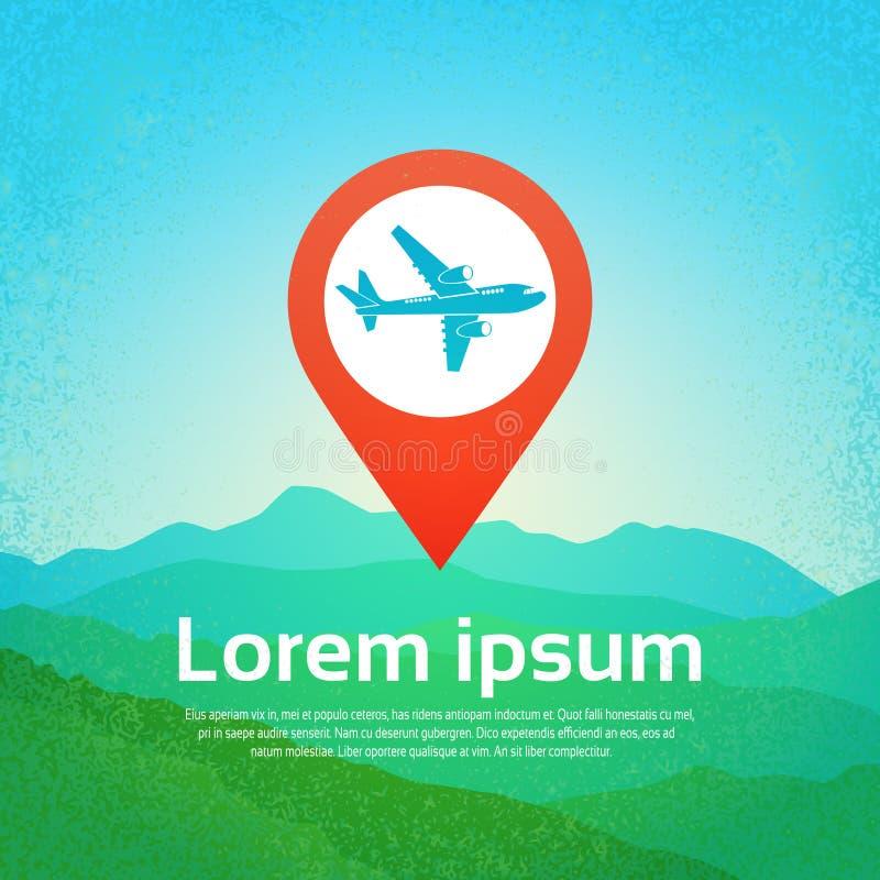 Världslopp med det plana symbolsflygplanet i navigeringpekaren Pin Over Mountains Background royaltyfri illustrationer