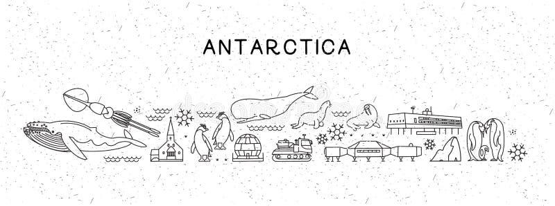 Världslopplinje symbolsAntarktis översikt Loppaffisch med djur och sightdragningar Inspirerande vektor royaltyfri illustrationer
