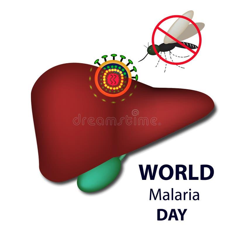 Världsmalariadag Myggan förbjuder tecknet Lever malariavirus Infographics Vektorillustration på isolerad bakgrund vektor illustrationer