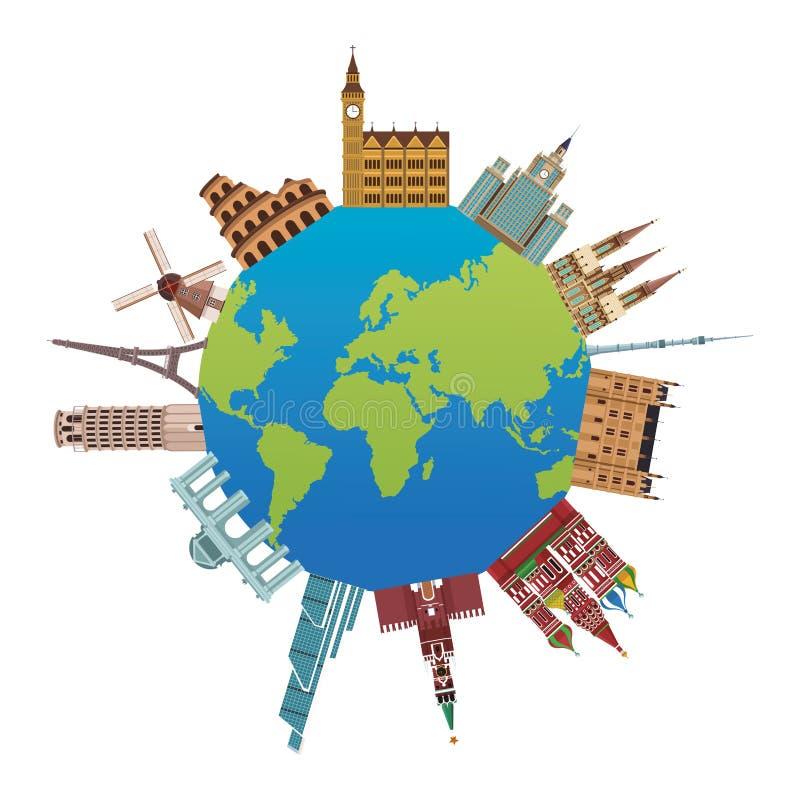 Världsmonumentsymbol stock illustrationer